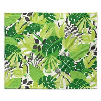 "Jacqueline Milton ""Tropicana - Green"" Lime White Fleece Throw Blanket"