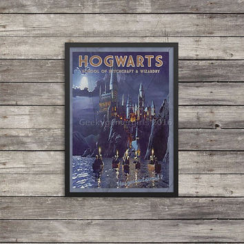 Hogwarts Travel Poster | Harry Potter poster |  Vintage look print | Vintage travel | Fantasy travel poster