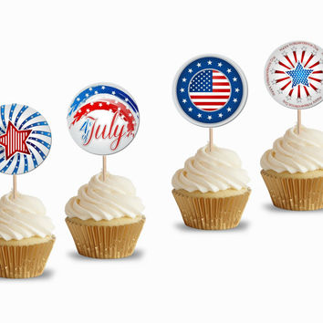 24 Pieces 4th of July Cupcake Toppers Picks for Birthday Decorations DIY Party Supplies