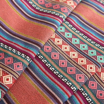Aztec Fabric, Peruvian Fabric, Woven, Cusco Coral, 1 Yard