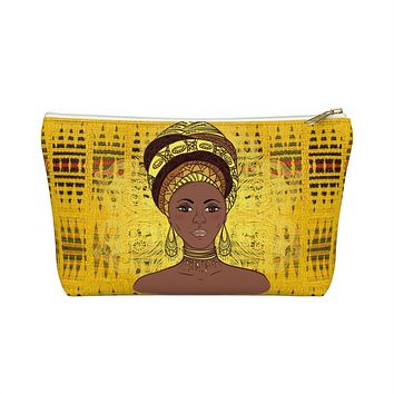 Yellow Kente African Inspired Make up Pouch w T-bottom