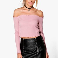 Ruby Rib Ruched Hem Crop | Boohoo