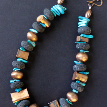On Sale Chunky Hill Tribe Copper and Blue Turquoise Necklace Rare Geometric Copper Shapes w Turquoise and Black Lava Gemstone Jewelry