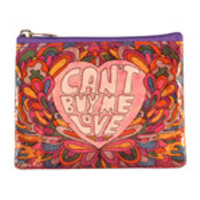"Blue Q Coin Purses Can't Buy Me Love 4"" x 3"" 95% Post Consumer Recycled Material"