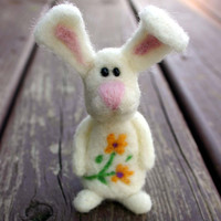 Theo the White Bunny With Yellow Daisies on Belly --- Needle Felted Rabbit, Soft plush stuffed toy