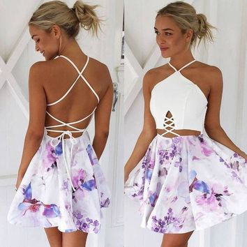 ac NOVQ2A Summer Spaghetti Strap Strapless White Mosaic Print One Piece Dress