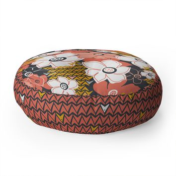 Heather Dutton Petals And Pods Lava Floor Pillow Round