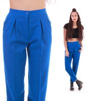 90s High Waist Blue Wool Trousers Pleated Tapered Pants Hipster Minimal Chic Vintage Clothing Womens Size Small 2