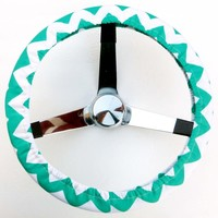 Mana Trading Handmade Steering Wheel Cover Mint Green and White Chevron