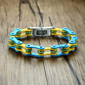 Blue and Yellow With Crystal Bikers Motorcycle Chain Bracelet For Mens Womens Stainless Steel Bike Bangle Armband Male Jewelry