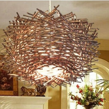 40 cm Diameter Creative Hand-woven Bird's Nest Pendant Light Chandelier Lamp