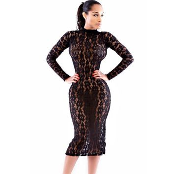 Womens sexy dresses party night club dress long sleeve bodycon dress hollow out Black Lace Midi Dress vestidos femininos A6862
