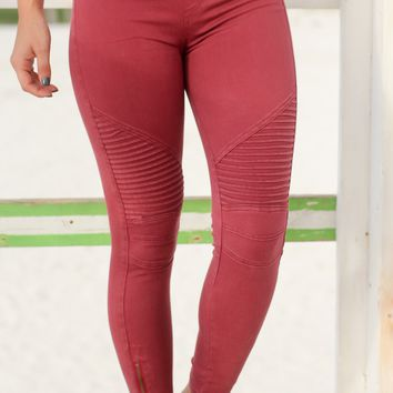Burgundy Moto Jeggings with Ankle Zippers
