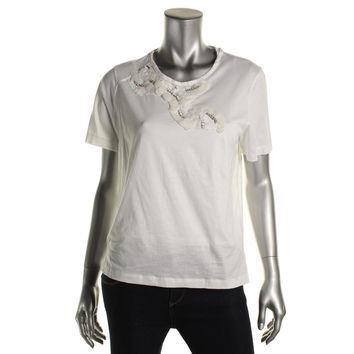 Zara W&B Collection Womens Embellished Short Sleeves T-Shirt