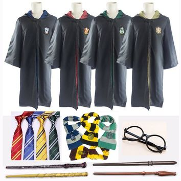 Harri Potter Robe Cape Cloak with Tie Scarf Wand Glasses Ravenclaw Gryffindor Hufflepuff Slytherin Cosplay Costumes Hermione