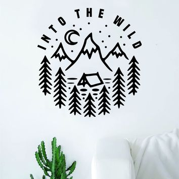 Into the Wild Decal Sticker Wall Vinyl Art Wall Bedroom Room Home Decor Teen Kids Baby Nursery Adventure Explore Mountains Moon