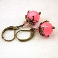 Vintage Inspired Earrings, Honeysuckle Pink Moonglow