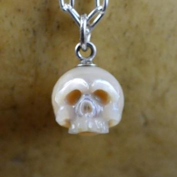 Hand Carved Cream Half Pearl Skull Necklace