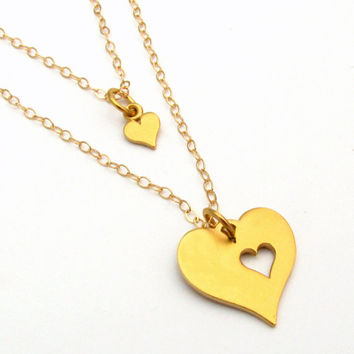 24K Gold Plated Sterling Silver Mother Daughter Heart Cutout Set, Mommy & Me, Two hearts, Sisters, Mothers Day Gift, Mommy Jewelry, MIL Gift