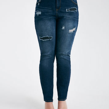Plus Size Patched & Distressed Skinny Jeans   Wet Seal Plus