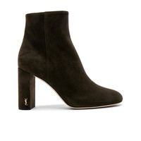 Saint Laurent Suede Loulou Pin Boots in Army Green | FWRD
