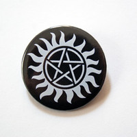 "Supernatural - Anti possession tattoo 1x1.5"" pinback button badge from Stickerama"
