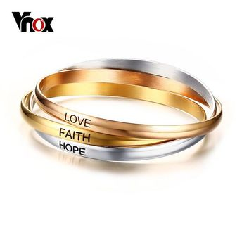 Vnox Three Colors Cuff Bangle Bracelets for Women Stainless Steel Love Faith Hope Bracelet Femme Jewelry