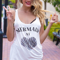 Mermaid At Heart Tank - WHITE