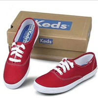 keds canvas Lace-Up Sneakers red H-G-JGYF