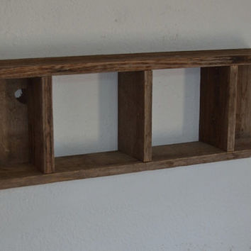 Rustic barnwood shadow box style wall shelf 23 x 8