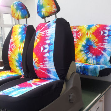 Set of car seat covers; front and rear covers: TYE DYE English print fabric