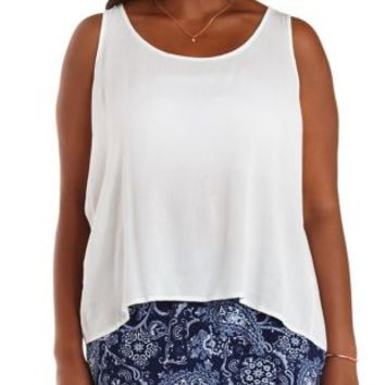Plus Size White Flyaway Swing Tank Top by Charlotte Russe