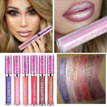 ICIKG2 2017 Diamond Shine Metallic Lipstick Gold Charming Long Lasting Tattoo Liquid Lipstick Flash Powder Lip Gloss Glitter Makeup