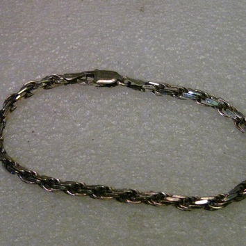 "Vintage Sterling Silver Heavy Twisted Link Men's/Unisex Bracelet, 8.5"", Milor, Italy"