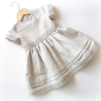 Linen baby girl's summer dress with bloomers Age 12 - 18 month Light grey pure flax cloth and lace