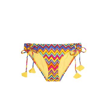 Sweet Pea Tassel Tie Side Bikini Bottom - Zig Zag Shores Print