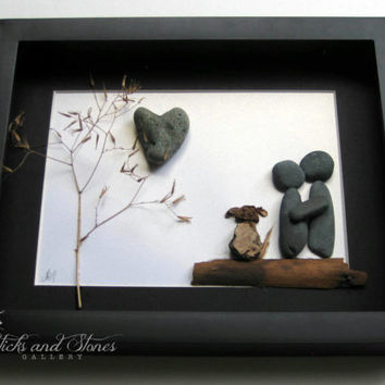 Unique Couple and Dog Gift- Personalized COUPLE'S Gift- SticksnStone Designs- Pebble Art Unique Wedding Gift -  Pebble Art - Love Gifts