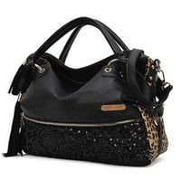 KERAL Korean Stylish Trendy Rivet Fringed Big Shoulder Bag Tote Purse Handbags Color Leopard