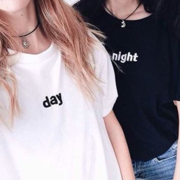 Day and Night Embroidered BFFs Tees