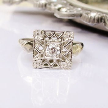 Antique Engagement Ring European Cut Diamond Art Deco Ring 14K White Gold Floral Lattice Filigree Ring Unique Vintage Engagement Ring!