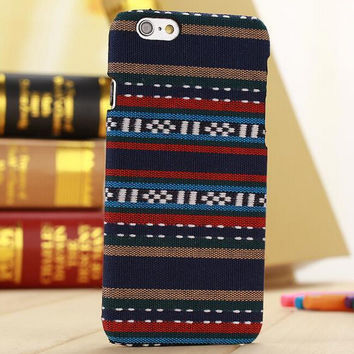 Handmade Navy Cloth Ethnic Style iPhone 6 6s Plus Case Cover Gift-171