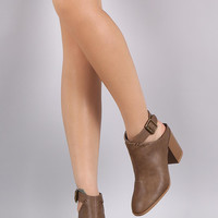 Qupid Cowgirl Ankle Strap Mule Booties