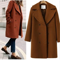 Fashion Medium Long Style Section Wool Lapel Cardigan Jacket Coat Brown