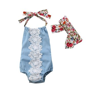 Blue Lace Romper with Headband