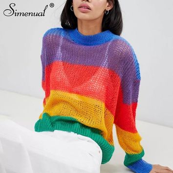 Simenual Big size rainbow women sweaters and pullovers autumn knitted clothing 2018 fashion transparent sexy hot jumper pull new