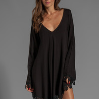 For Love & Lemons Angelic Long Sleeve Mini Dress w/ Lace Trim in Black