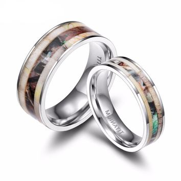 Titanium Rings Men Women Wedding Band Deer Antlers Camouflage Inlay
