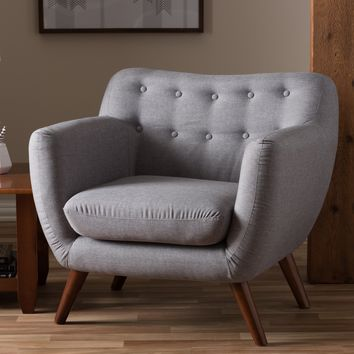 Baxton Studio Harper Mid-Century Modern Light Grey Fabric Upholstered Walnut Wood Button-Tufted 1-Seater Armchair Set of 1