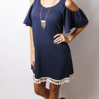 Bo Peep Tassel Dress: Navy
