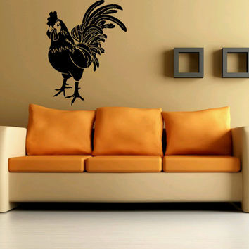 Wall Art Vinyl Sticker Decal Mural Decor Morning Rooster Bird Great For Kitchen Farm Decor 1118
